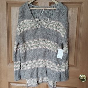 Free People Chunky Mink Combo Hi/Lo Sweater